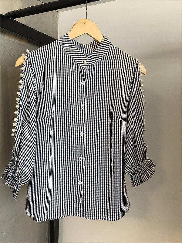 Camisa Vichy Pérolas