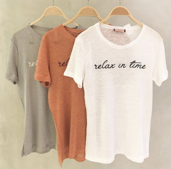 T-shirt linho Relax in time