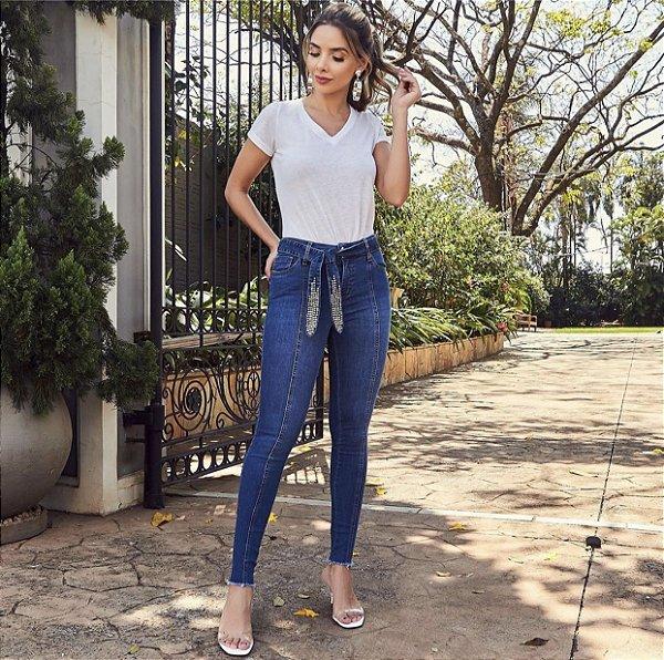 Skinny Jeans Faixa Bordada