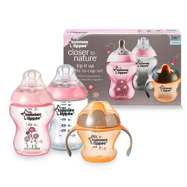TOMMEE TIPPEE KIT MAMADEIRAS E COPO CLOSER TO NATURE 3M+ 260ML
