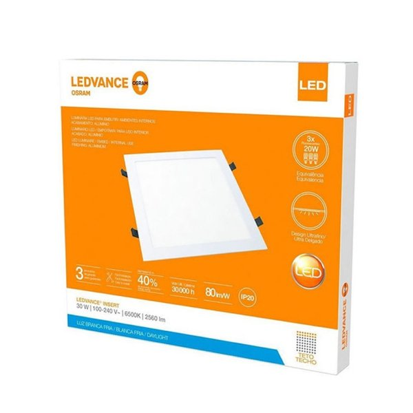 Painel Plafon de Embutir Ledvance 30W/865 6500K Quadrado