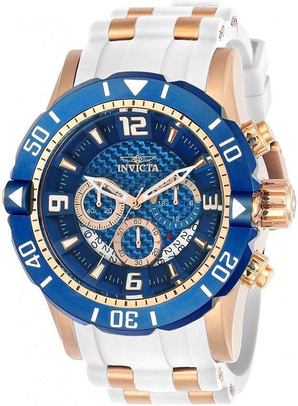 2fe5f9c32a1 Relogio Invicta Original Pro Diver 23709 Banhado A Ouro Rose Mostrador Azul  50mm