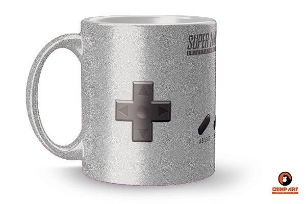 Caneca Metálica Prateada Controle Super Nintendo