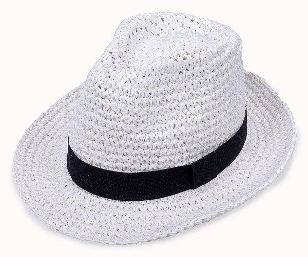 Chapéu Fedora Branco Palha  Aba Média 6cm