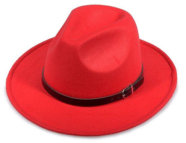 Chapéu Fedora Vermelho Feltro Aba Média 7cm Cinto