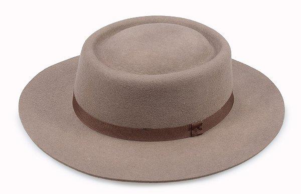 Chapéu Pork Pie Caqui 100% Lã Aba 6,5cm Premium Hats