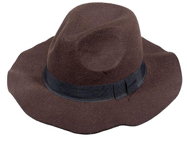 Chapéu Fedora Marrom  Aba Maleavel 7cm