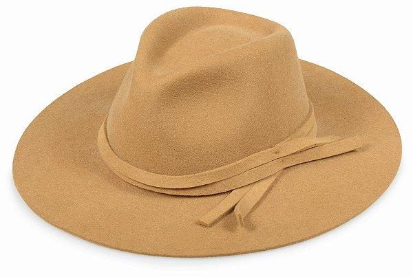 Chapéu Fedora Caramelo Aba 9,5cm 100% Lã Super Confort