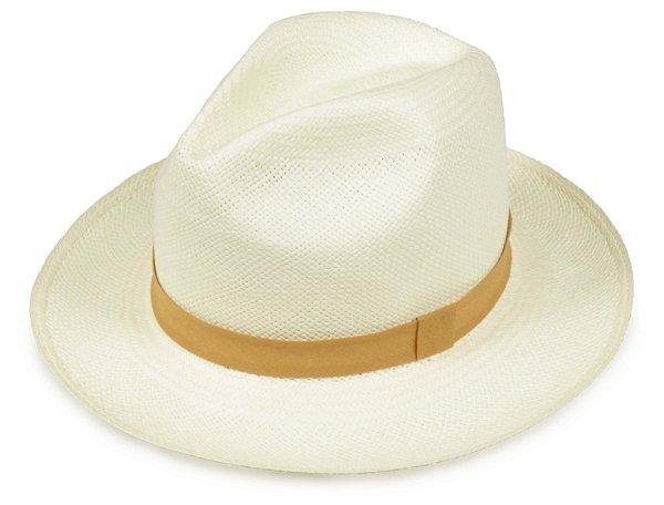 Chapéu Panamá Creme Faixa Caramelo