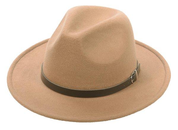 Chapéu Fedora Camel Feltro Aba 7cm