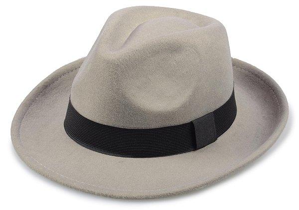 Chapéu Fedora Cinza Liso Aba 5,5 cm