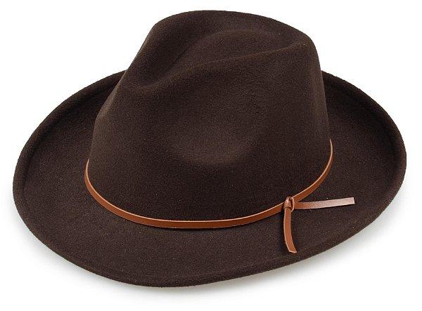 Chapéu Fedora Marrom Aba média Reta e Curva Custom Couro Caramelo