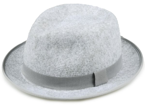 Chapéu Fedora Cinza Mescla Feltro Aba Curta Edição Limitada