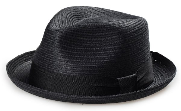 Chapéu Fedora Palha Preta Aba Curva Curta 4cm