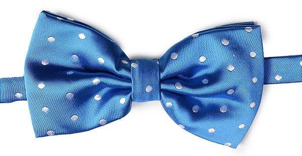 Gravata Borboleta Estampada Azul com bolinhas brancas