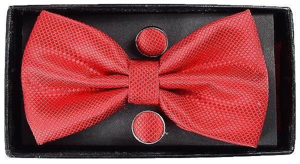 Gravata Borboleta Vermelha com Abotoaduras e Lenço