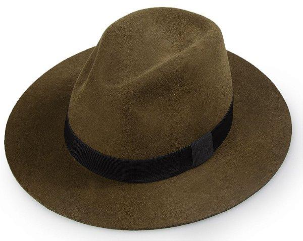 Chapéu Fedora Marrom 100% Lã Aba Reta  7,5cm Premium Hats