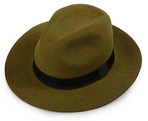 Chapéu Fedora Caramelo 100% Lã Aba Reta 7,5cm Premium Hats