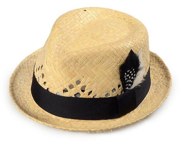 Chapéu Fedora Fibra de Côco Aba Curta Vazado Pena 4cm