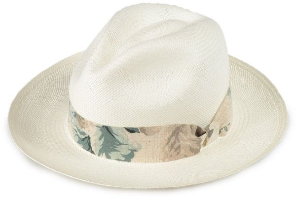 Chapéu Panamá 100% Palha Montecristi Aba Média Faixa Flower Verde