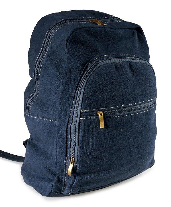 Mochila Jeans Azul Marinho Zíper