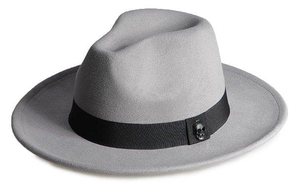 Chapéu Fedora Cinza Aba Média 7cm Caveira em Preto Fosco
