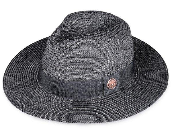 Chapéu de Palha Preto Fedora Aba Grande 8cm
