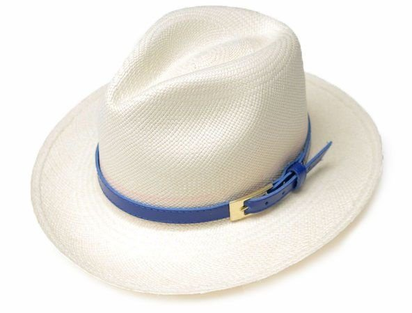 Chapéu Panamá Aba Média Montecristi Customizado Azul