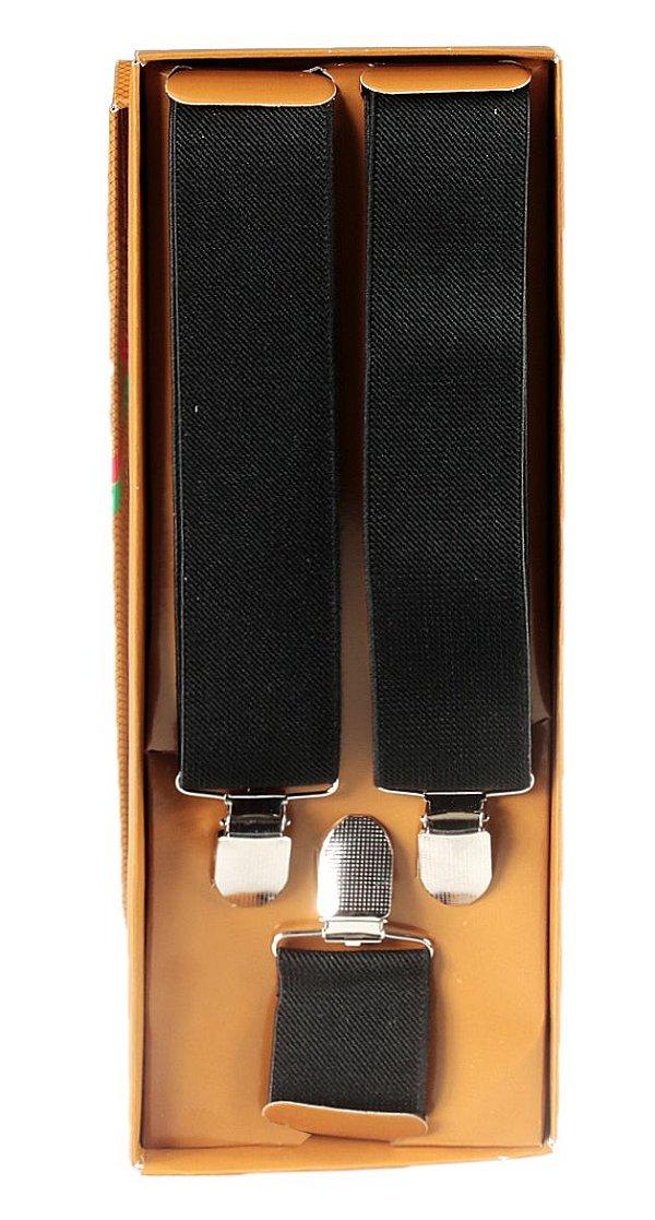Suspensório Preto Unissex Preto Largo 3,3cm
