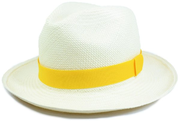Chapéu Panamá Aba Média Faixa Amarela Customizada