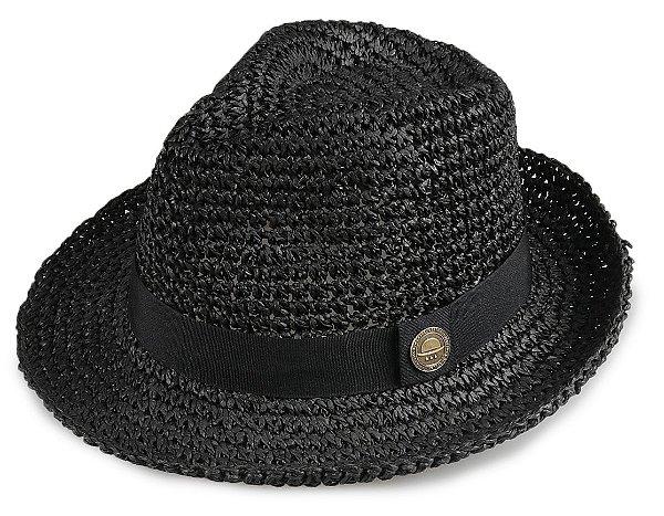Chapéu Fedora Palha Preto Aba média 5,5 cm