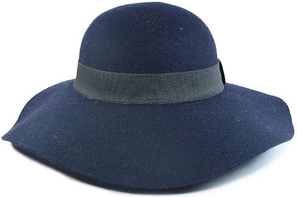 Chapéu Floppy Azul Marinho Feltro Aba Grande
