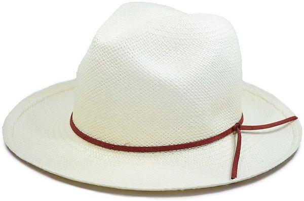 Chapéu Panamá Aba Média Faixa Couro Fino Marrom Terra Customizada