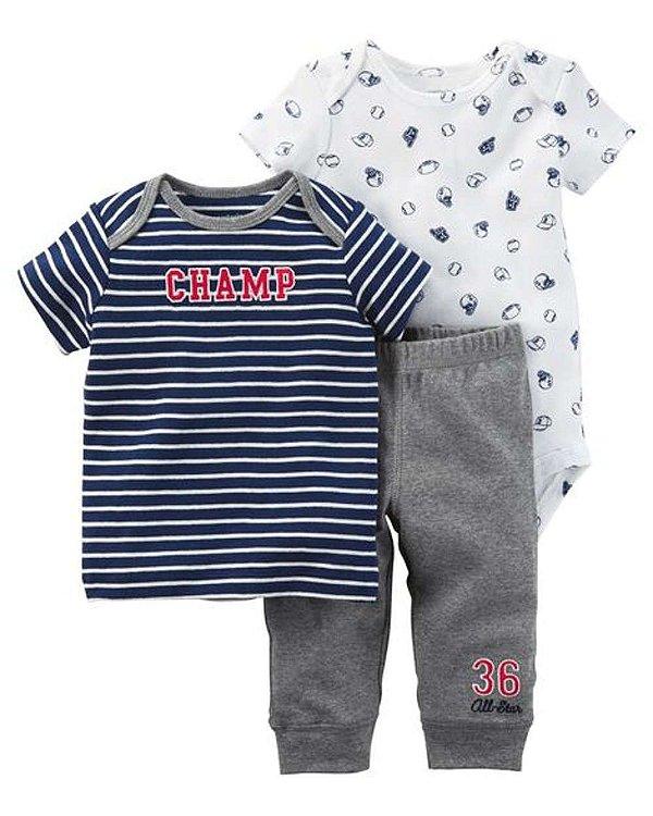 Conjunto o pequeno campeão 3 peças Carter's - Body Manga Curta, Camiseta e Calça