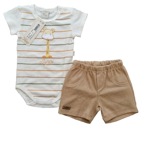 Conjunto Bebe Body e Shorts – Safari