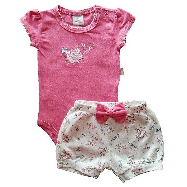 Conjunto Bebê Menina Body Manga Curta e Short - Pink