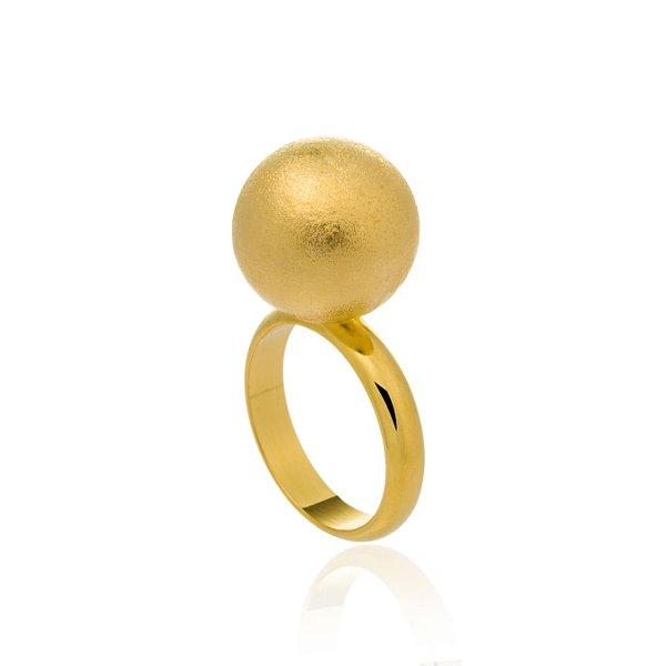 Anel Bubbles Ouro Escovado