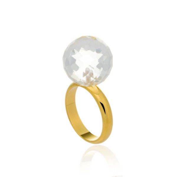 Anel Bubbles 35 Ouro Quartzo Incolor