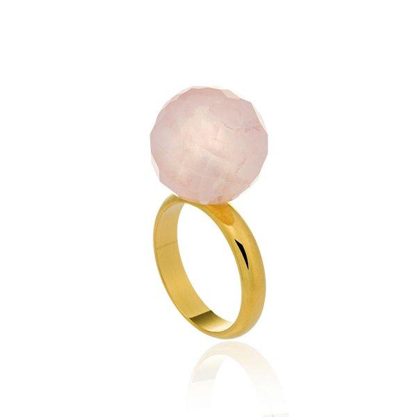 Anel Bubbles Ouro Quartzo Rosa