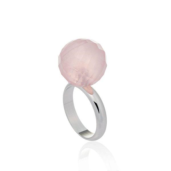 Anel Bubbles Ródio Quartzo Rosa