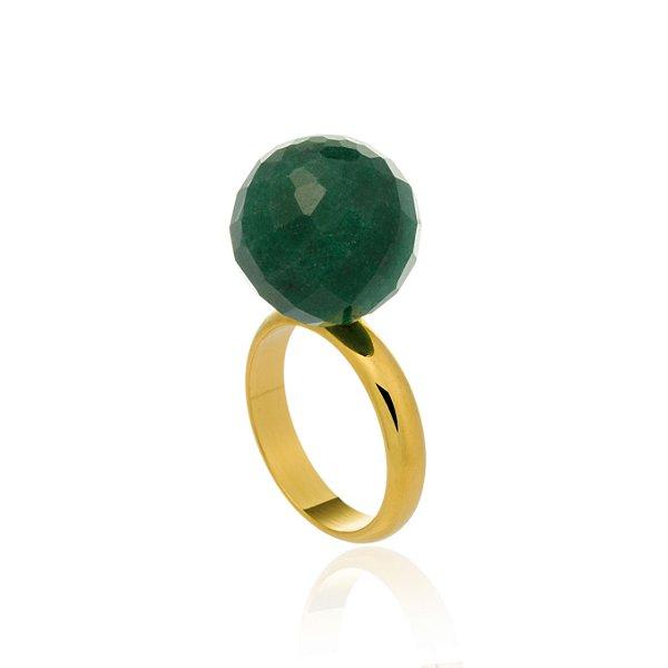 Anel Bubbles 35 Ouro Quartzo Verde