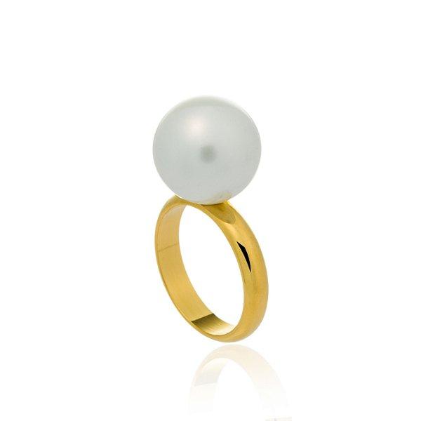 Anel Bubbles Ouro Shell Branca