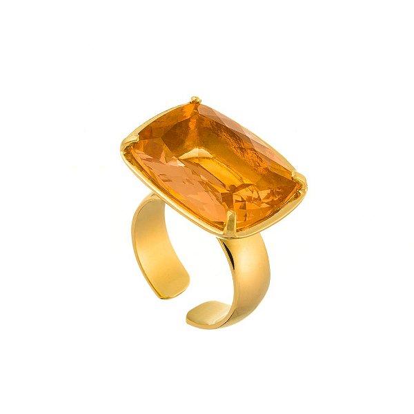 Anel Burlesque 319 Ouro Cristal Laranja