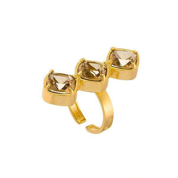 Anel Burlesque 320 Ouro Cristal Incolor