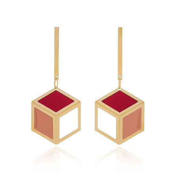 Brinco Cobogó 729 Ouro Resina Vermelha Rosa Pequeno