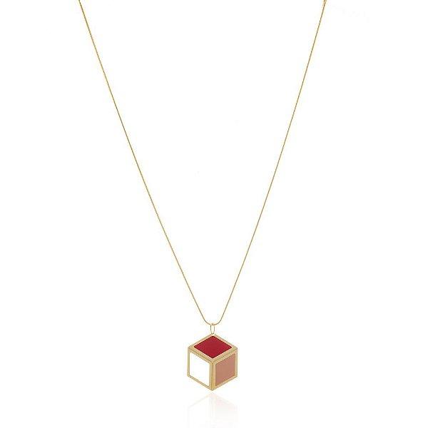 Pingente Cobogó 264 Ouro Resina Rosa Vermelha Pequeno
