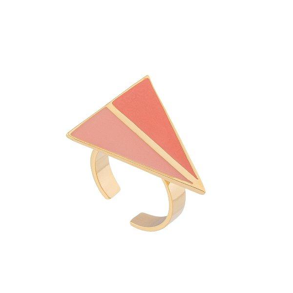 Anel Cobogó 334 Ouro Resina Rosa
