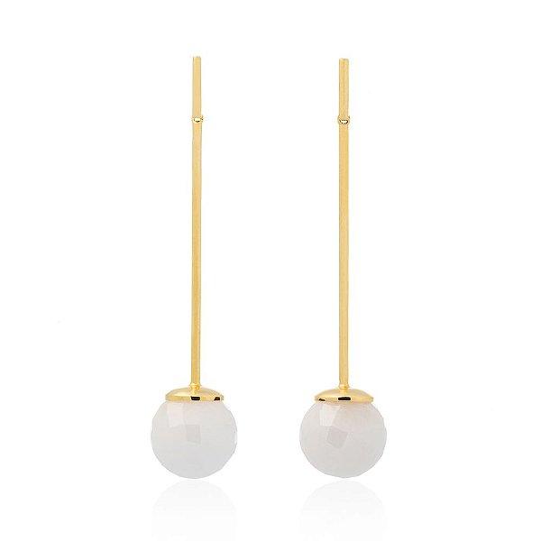 Brinco Bubbles 672 Ouro Quartzo Branco