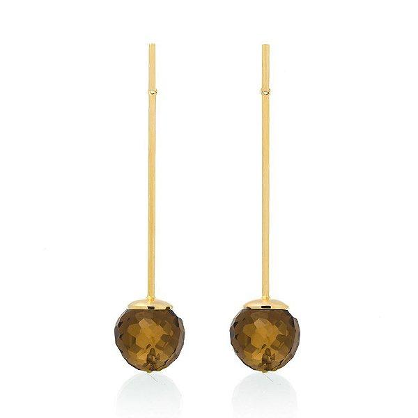 Brinco Bubbles 672 Ouro Quartzo Fume