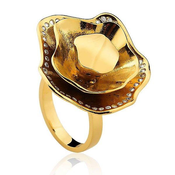 Anel Cuba 297 Ouro Zircônia Incolor